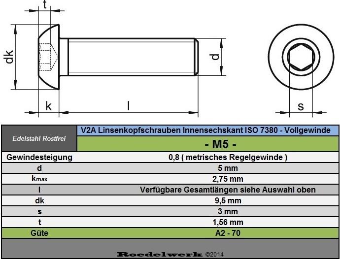 5 mm m5 edelstahl linsenkopfschrauben innensechskant iso 7380 v2a va a2 ebay. Black Bedroom Furniture Sets. Home Design Ideas