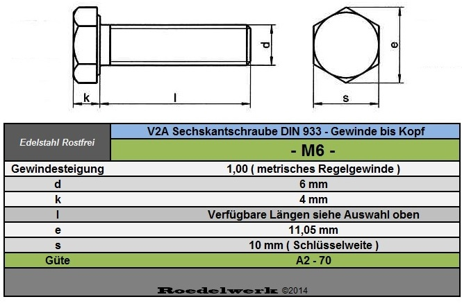 rostfreie 6 mm m6 edelstahl v2a sechskant schrauben din 933 gewinde bis kopf ebay. Black Bedroom Furniture Sets. Home Design Ideas