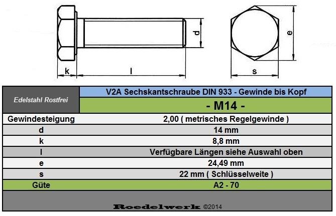 Edelstahlschrauben V2A 5 Stück M14X70 Sechskantschrauben DIN 933 Edelstahl A2