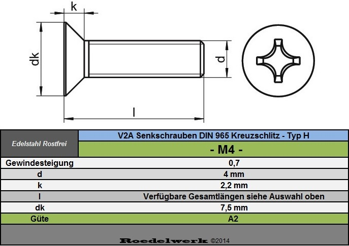 Senkkopfschrauben M10 Edelstahl A2 Kreuzschlitz DIN 965 Typ H VA V2A