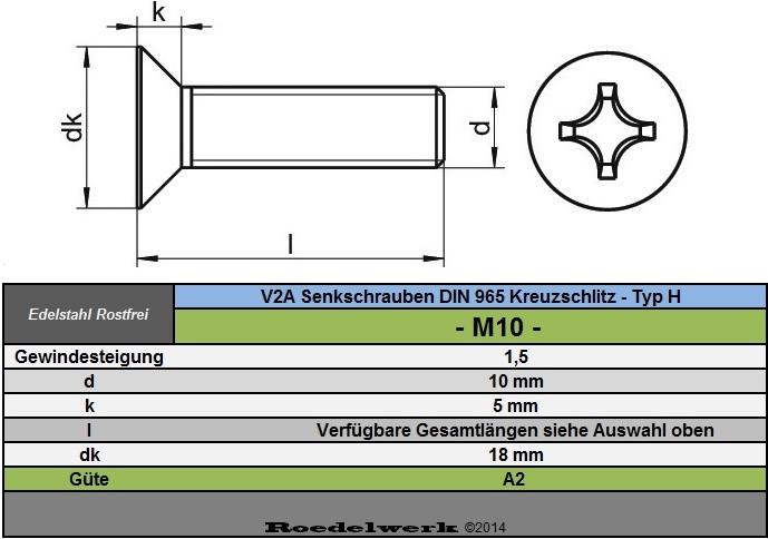 | DIN 965 H SC-Normteile | M5x6 | Senkkopfschrauben mit Kreuzschlitz 25 St/ück Phillips SC965H Vollgewinde |aus rostfreiem Edelstahl A2 V2A
