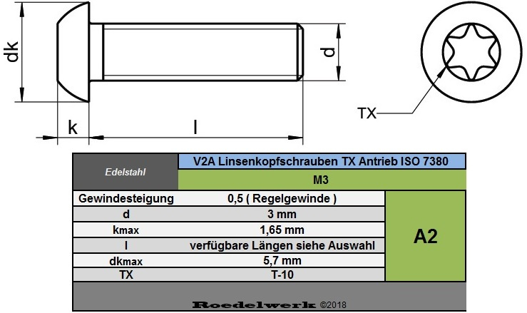 Linsenkopfschrauben Edelstahl M3 TX T10 ISO7380 V2A A2 VA Linsenschrauben 3 mm
